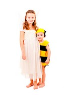 Brother and sister in carnival costumes isolated over white