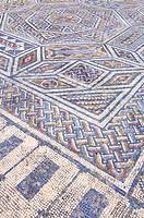geometric shapes of a mosaic in the Roman ruins of Conimbriga, Las Beiras, Portugal, Europe