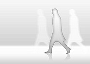 Man is walkin fast and alone in front of white background
