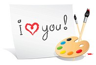 message i love you on the white paper by artist