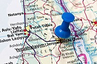 Jerusalem on a map closeup