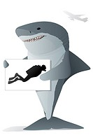 Shark Character holding a sign with a diver on it for an airport pick up