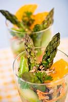 a glass with asparagus salad