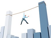 man on rope and 3d financial chart