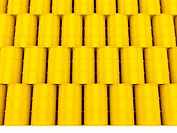3d render of yellow oil barrels wall