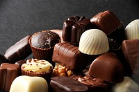 Selection of delicious hand made luxury chocolates