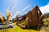 Mountain wooden lodge apartment exterior. Fox Glacier Lodge, Fox Glacier, West Coast, South Island, New Zealand.