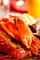 Dish with cooked crabs and lobsters with selective focus on the crab nipper