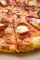 Pepperoni pizza serve when hot, a good food from italia