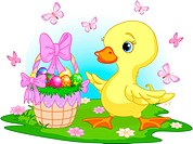 Easter duckling with a basket of eggs _ happy Easter!