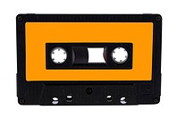 Single black audio cassette and label isolated on white background. Included clipping path for each part, so you can easily cut it out and place over ...