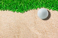 White golf ball on green  real green grass background