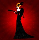 on an abstract red background is stylish lady in black with black half mask and veil