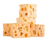 The perfect pieces of swiss cheese isolated on white background with clipping path