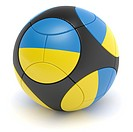 Soccer match ball of the 2012 European Championship with the flag of the Ukraine_ clipping path included
