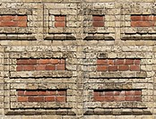 Wall made of two kinds of bricks. Seamless image