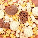Pot pourri as a background image on a wooden surface