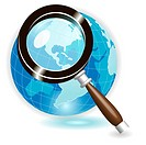 illustration, blue globe under magnifying glass on white background