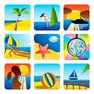 Holiday, Summer and Sea Icons _vector Icon Set