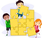 Illustration of Kids Solving a Giant Jigsaw Puzzle _ eps8