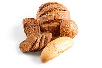 bread and other grain products on a white background