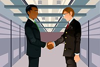 A vector illustration of two businessmen shaking hands in a technology datacenter