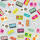 fully editable vector seamless pattern audio cassettes