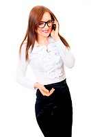 Young businesswoman talking on cell phone isolated over white background
