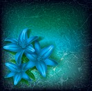 grunge floral illustration with blue flowers on green, Image contains gradient mesh