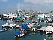 CAUSEWAY BAY HONG KONG Junks in Causeway Bay Typhoon shelter anchorage and RHK yacht club boats