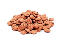 chocolate chips cereals on white