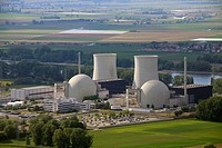 Aerial view, Biblis Nuclear Power Plant, Hesse, Germany, Europe