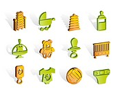 Child, Baby and Baby Online Shop Icons _ Vector Icon Set