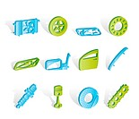 Realistic Car Parts and Services icons _ Vector Icon Set 1