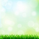 Green Grass And Spring Background, Vector Illustration With Gradient Mesh