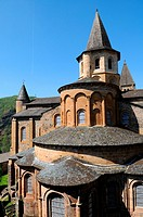 The Sainte-Foy abbey-church in Conques, Aveyron, Midi-Pyr&#233;n&#233;es, France