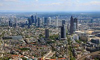 Aerial view, financial district, Frankfurt am Main, Hesse, Germany, Europe