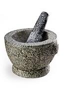A stone Mortar & Pestle on white