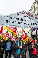 Paris, France, People Marching in Anti-European Economic Austerity Measures Demonstration, by Leftist Labor Unions, and Political Party