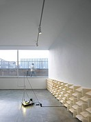 Lisson Gallery, Tony Fretton, London, United Kingdom, 1992, Gallery interior with view through to street