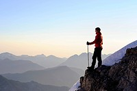 Climber on a ridge with Apl peaks, Reutte, Tyrol, Ausserfern, Austria, Europe