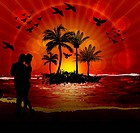 A Couple on the Beach at Sunset. special effects gradient mesh and transparency used in artwork