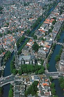 Aerial view of Amsterdam canal ring area (UNESCO World Heritage List, 2010) - Holland, Netherlands