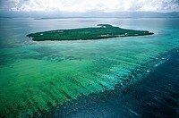 Aerial view of Protected Area Reserve du Grand Cul de Sac Marin - Fajou Island, Guadeloupe (Overseas department of France)