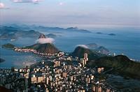 Aerial view of Rio de Janeiro with Botafogo district and Sugar Loaf Mountain - State of Rio de Janeiro, Brazil