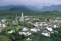 Aerial view of Clifden - Connemara, County Galway, Ireland