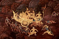 Thai Ramayana painting. Some part of the story. The story and the gradient pattern that is uniquely Thai.