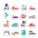 car and transportation insurance and risk icons _ vector icon set