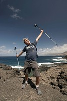 Carefree man, Nordic walking, Punta de Jandia, Puerto de la Cruz, Jandia, nature park, national park, Fuerteventura, Canary Islands, Spain, Europe