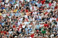 Spectators in the stadium, blurred